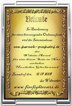 Award von den Firefighters112 (07/2008)